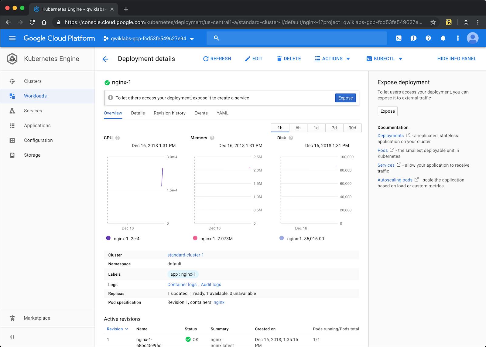 Deploying Google Kubernetes Engine Qwiklab